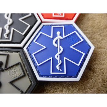 PARAMEDIC PATCH | Star of Life | Farbe: blau | JTG 3D Rubber Patch