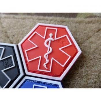 PARAMEDIC PATCH | Star of Life | Farbe: rot | JTG 3D Rubber Patch