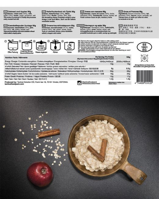 TACTICAL FOODPACK® OATMEAL AND APPELS